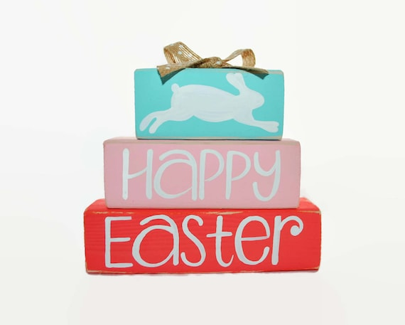 Happy Easter Bunny WoodenBlock Pastel Coral Office Decor Spring Burlap