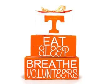 University of Tennessee Volunteers Eat Sleep Breathe Sports WoodenBlock Shelf Sitter Stack