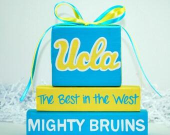 UCLA MIGHTY BRUINS Sport WoodenBlock shelf sitter stack