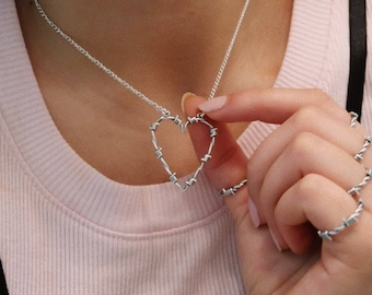 Barbed wire heart necklace, barbed wire heart, barbed wire necklace