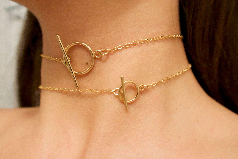 BAR-Halsband gold Halsband Knebel Halsreif