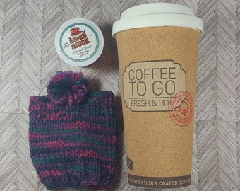 Travel Cup Cozy- Purple and Teal Travel Mug Cozy