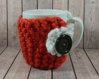Orange and White Mug Cozy- Orange and White Coffee Cup Cozy- Knitted Coffee Cup Cozy