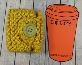 Yellow Mug Cozy- Yellow Coffee Cup Cozy- Yellow Coffee Cup Cozy