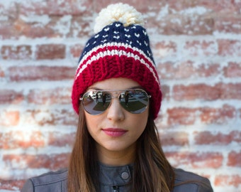 American Flag Beanie - Fair Isle Beanie - USA Beanie- Ski Beanie - Pom Pom Hat - Red White and Blue Knitted Hat - Fair Isle Hat