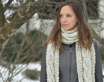 Cabled Scarf, Cable Scarf, Chunky Knit Scarf, Winter Scarves, Chunky Scarf, Knitted Scarf, Cable Knit Scarf, Winter Accessory