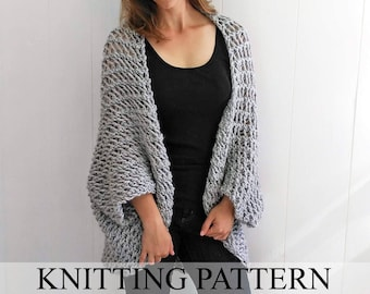 Easy Sweater PATTERN, Shrug Pattern, Beginner Sweater Knit Pattern, Cardigan Pattern, Blanket Sweater Pattern, Cardigan Pattern, THE COCOON
