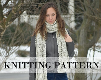 Cable Scarf KNITTING PATTERN, Easy Cabled Scarf Pattern, Knitted Cable Scarf for Beginners, Scarf Patterns, Chunky Cable Scarf Knit PATTERN