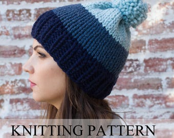 d5c2ac7507f89 KNITTING PATTERN Ombre Beanie - Ombre Hat Pattern - Easy Hat Pattern - Pom  Pom Hat Pattern - Chunky Hat Pattern - Chunky Beanie
