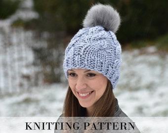 Easy Cable Beanie KNITTING PATTERN, Beginner Cabled Hat Pattern, Cabled Hat Pattern, Chunky Cabled Beanie Knitting Pattern