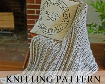 Chunky Blanket KNITTING PATTERN, Chunky Knit Throw Pattern, Knitted Blanket Pattern, Knit Throw Pattern, Beginner Knitting Pattern