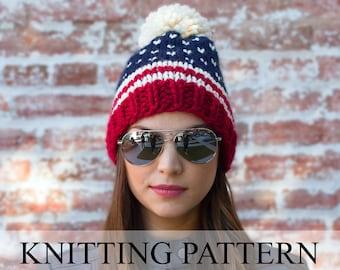 Patriotic Beanie KNITTING PATTERN - American Flag Hat Pattern - Fair Isle Knit Beanie Pattern - Pom Pom Ski Hat Pattern - USA beanie pattern