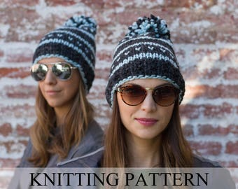 KNITTING PATTERN Fair Isle Beanie Pattern, Ski Hat Pattern, Pom Pom Hat Pattern, Knit Hat Pattern, Beanie Pattern, The Rocky Mountain Beanie