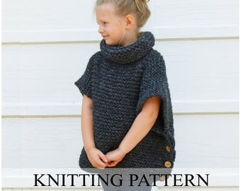 KNITTING PATTERN The Sophie Sweater (Toddler, Child, Adult Sizes), Knitted Pullover, Easy Sweater Pattern, Poncho, Cape, Chunky Knit