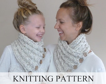Knitting Pattern The Lancaster Scarf Chunky Button Neckwarmer Etsy