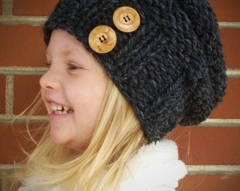 Knit Slouchy Toddler Beehive Hat in Charcoal Grey with Two Natural  Wood Coconut Buttons ANY COLOR - Toddler Hat - Boys Girls Kids Hat 439483f7cd5c