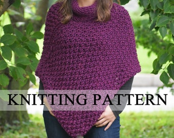 f39114d91bcc7 Knit Poncho PATTERN - Knitted Poncho PATTERN - Easy Poncho Knitting Pattern  - Cape Pattern - Knit Cape Pattern - Wrap Knitting Pattern