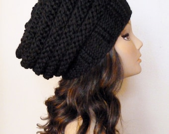KNITTING PATTERN - Knit Hat Pattern Black Slouchy Beehive Hat Pattern 1af73271935