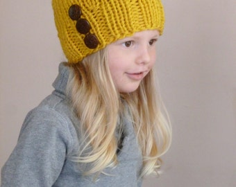 b14e97bf297d2 Toddler Slouch Hat Mustard Yellow Three Natural Coconut Buttons