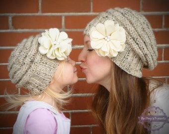 Mommy and Me Matching Knit Oatmeal Hats with Ivory Felt Flower and Pearl  Centers - Knit Toddler Hat - Knit Women s Hat - Knit Baby Girls Hat 35b098200b9a