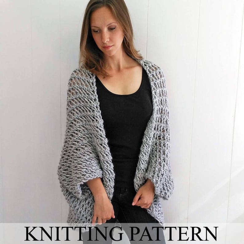 229d8b97f7 Easy Sweater PATTERN Shrug Pattern Beginner Sweater Knit