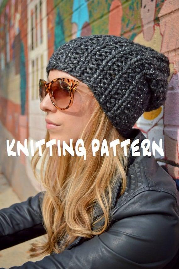 Diy Knitting Pattern Slouchy Beanie Pattern Knit Slouch Hat Etsy