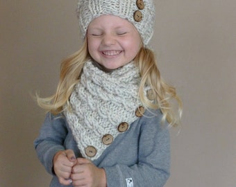 Hand Knit Toddler Slouchy Beehive Hat and Cabled Neckwarmer Set in Neutral Wheat or YOUR COLOR CHOICE with Seven Natural Coconut Buttons
