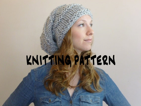 Instant Download Knit Hat Pattern Oversized Slouchy Beanie Etsy