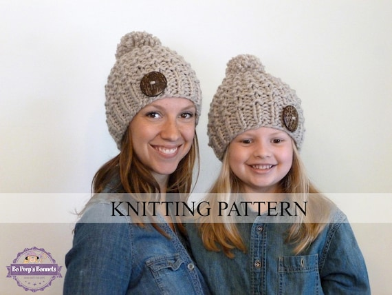 Knitting Pattern Mommy And Me Textured Beanies Toddler Hat Etsy