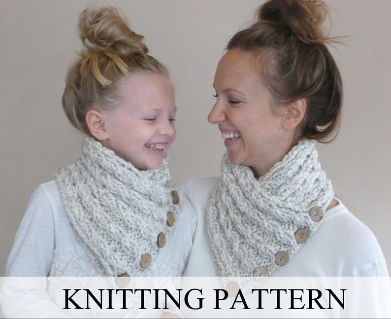 Knitting Pattern Baby Cabled Button Neckwarmer Toddler Etsy