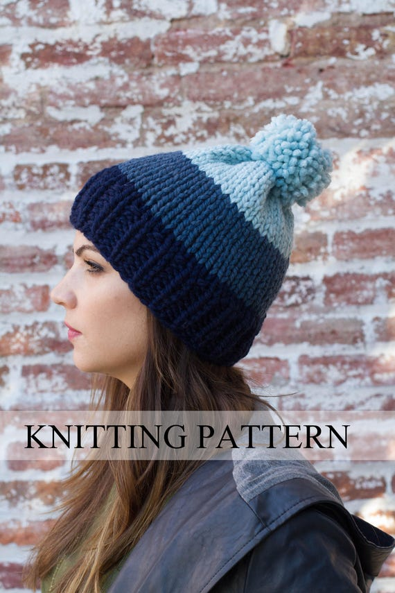 Knitting Pattern Ombre Beanie Ombre Hat Pattern Easy Hat Etsy