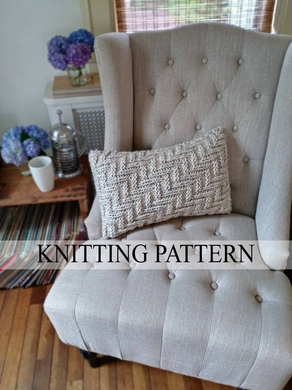 Knit Pillow Pattern Knitted Pillowcase Pattern Pillow Cover Etsy