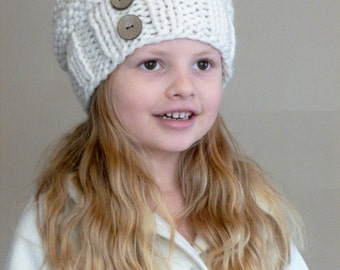 Hand Knit Toddler Slouchy Beehive Hat in Cream With Two Coconut Buttons - Knit Toddler Hat - Knit Slouch Toddler Hat - Knit Kids Hat