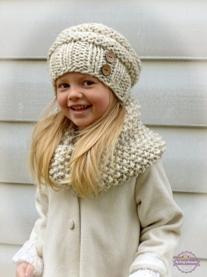 Hand Knit Toddler Kids Slouchy Hat and Cowl Scarf Set in  141fdeecd3fa