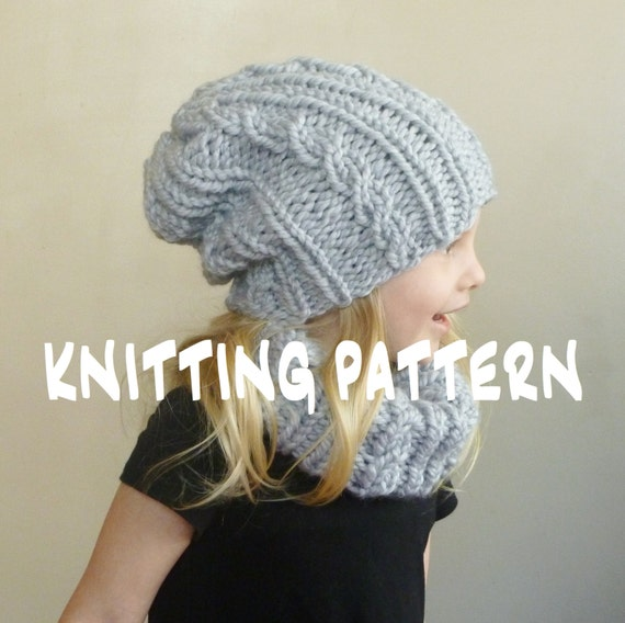 Knitting Pattern Baby Cabled Hat Cowl Set Toddler Slouchy Beanie