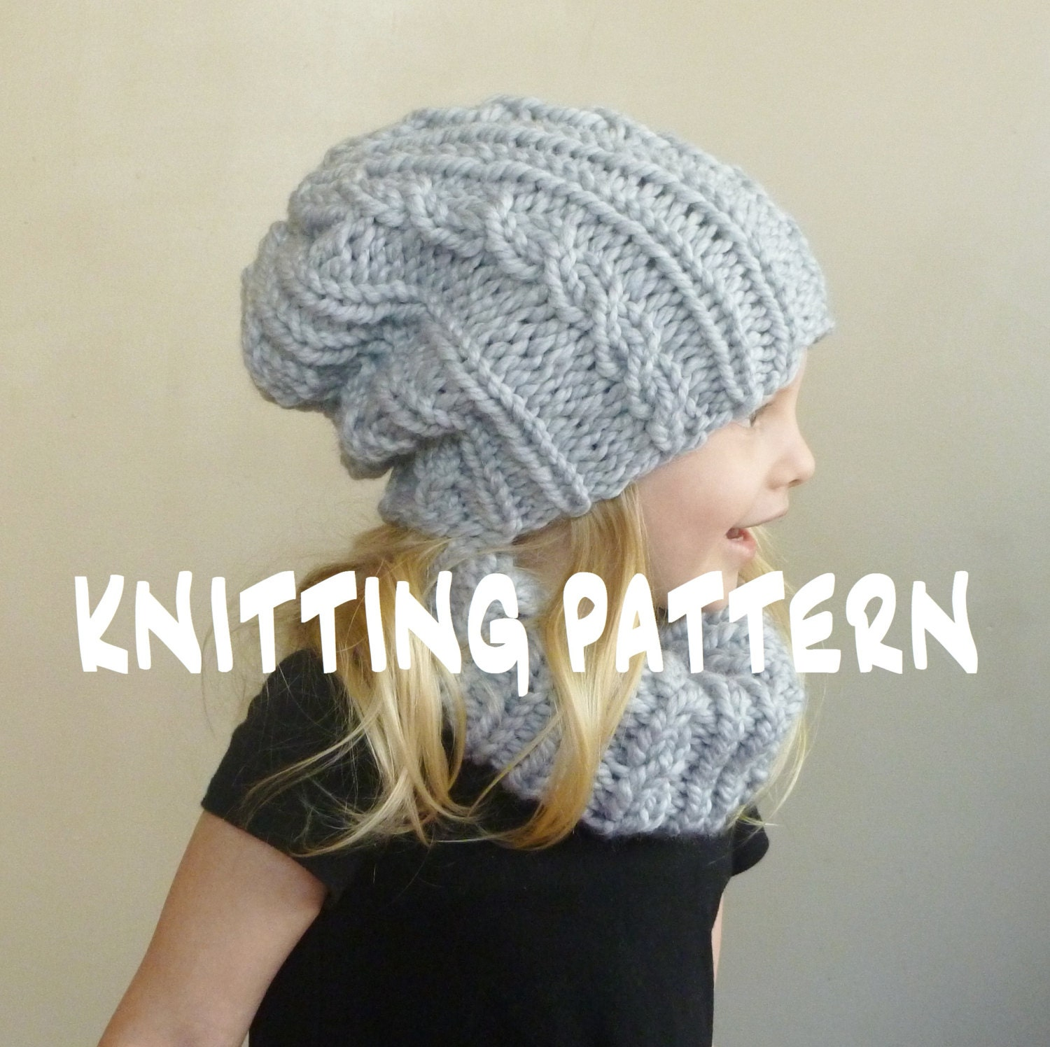 Knitting PATTERN Baby Cabled Hat Cowl Set Toddler Slouchy  144f1432c57