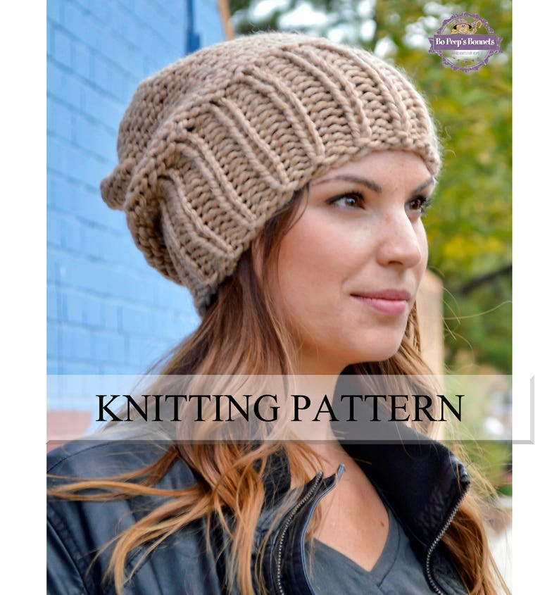 dc3de493e85 Knit Hat PATTERN Knitting Pattern Women s Slouchy Sacking
