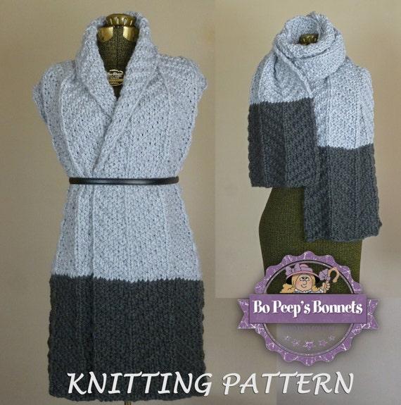 Knit Scarf Pattern Color Block Scarf Knitting Pattern Etsy