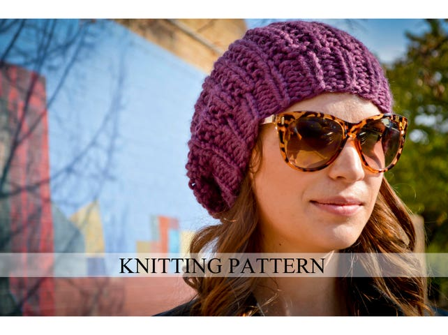 Knit Hat Pattern Knitting Pattern Slouchy Beret Knitted Etsy