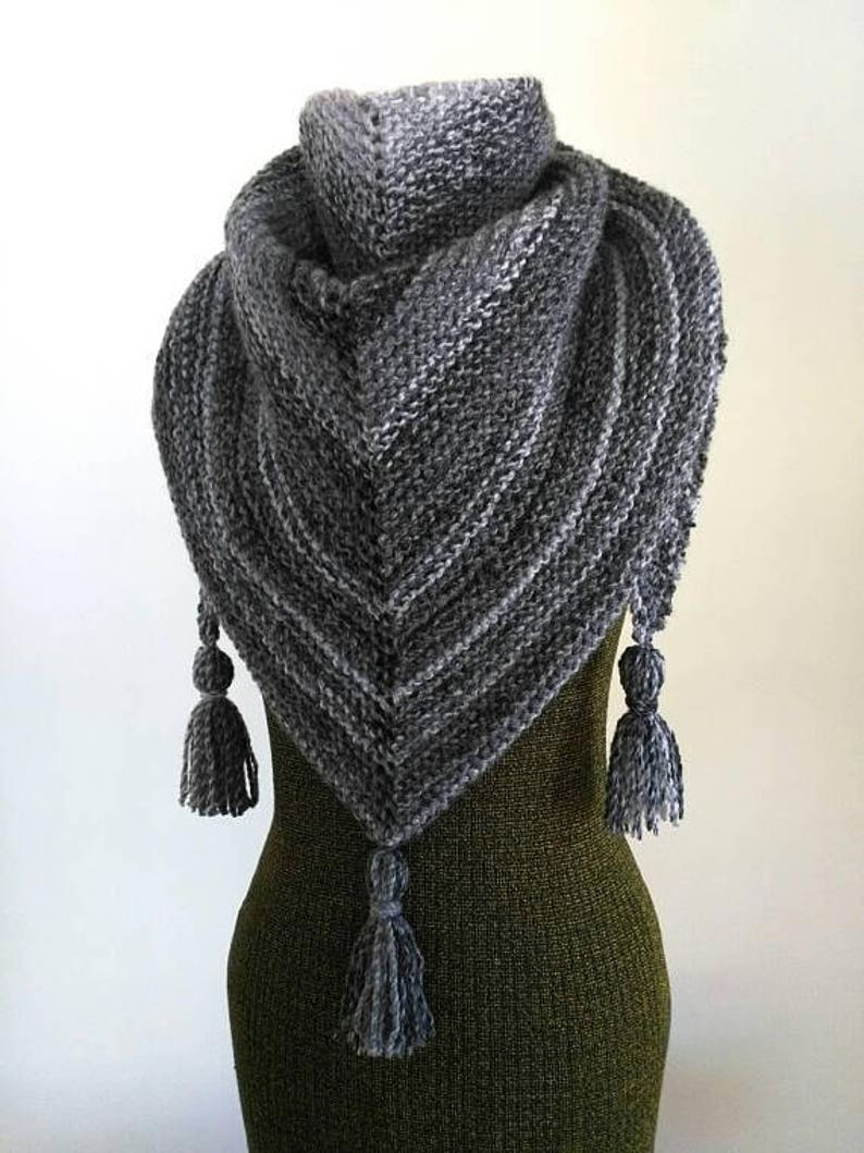 Knitting Pattern Easy Triangle Scarf Pattern Shawl Pattern Etsy