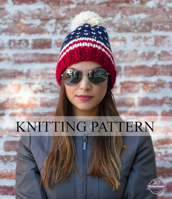 Patriotic Beanie Knitting Pattern American Flag Hat Pattern Etsy