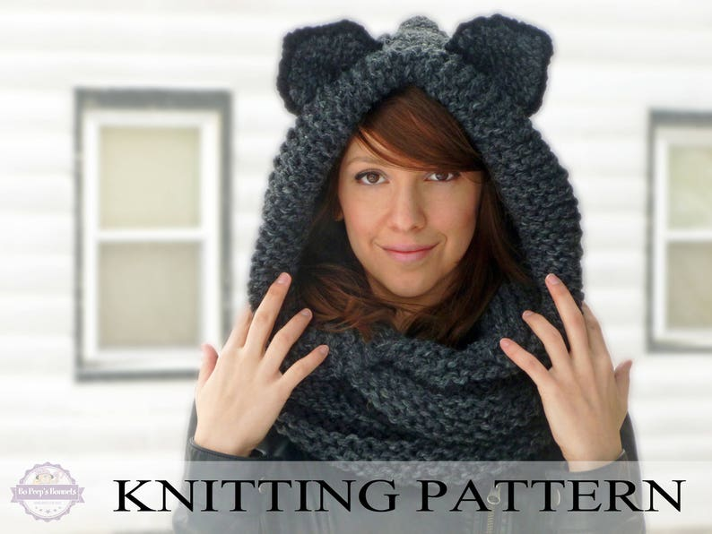 KNITTING PATTERN Hooded Cat Cowl Cat Ears Hooded Infinity  dcf90306d0d