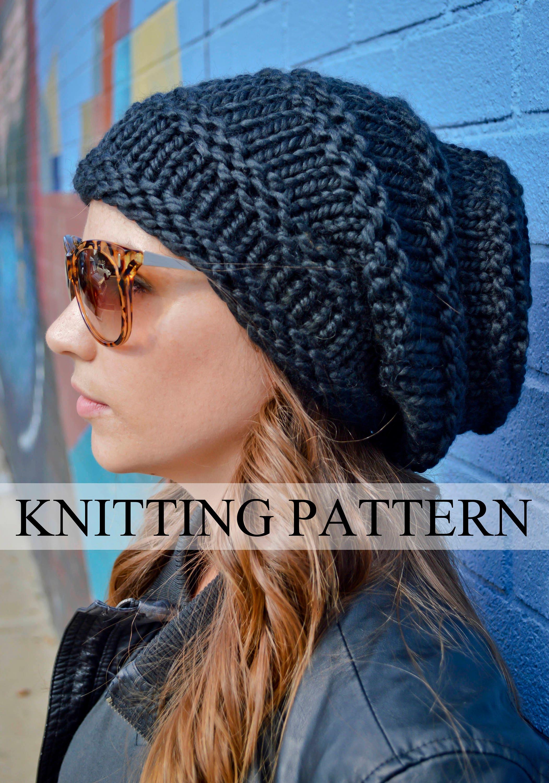 Knit Hat Pattern Knitting Pattern ROCKER HIVE BEANIE Knitted | Etsy