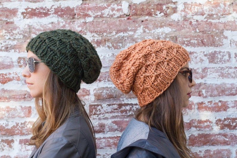 Slouchy Beanie Knitted Slouch Hat Chunky Winter Hat Hipster  1922eb6eb937