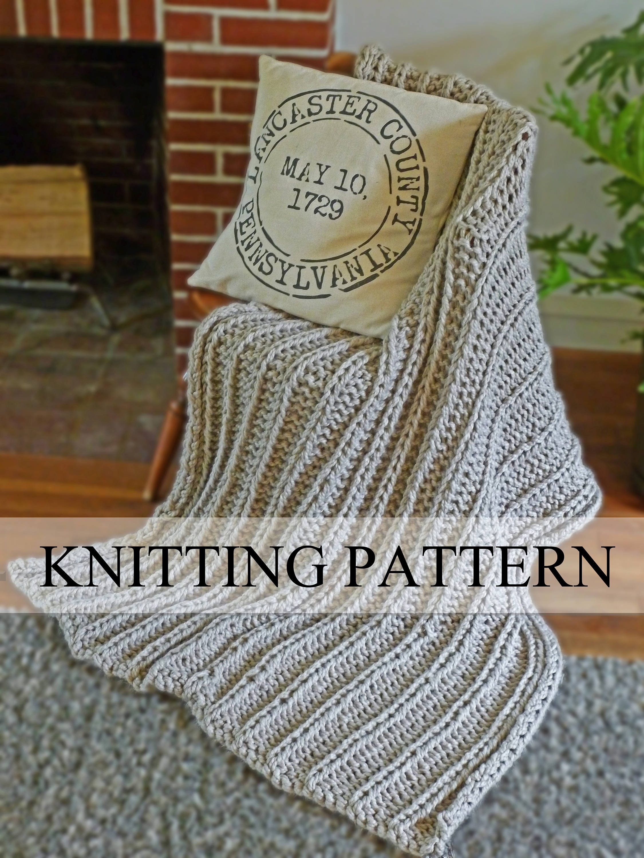 Chunky Blanket KNITTING PATTERN, Chunky Knit Throw Pattern, Knitted ...