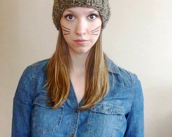 Hand Knit Cat Hat, Cat Beanie, Women's Knit Hat, Knitted Cat  Ear Hat, Cat Ear Beanie, Winter Fashion Accessories, Chunky Hat