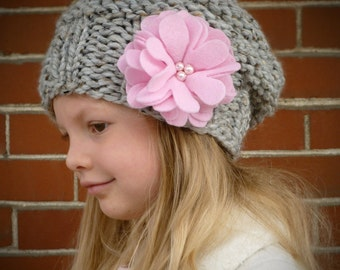 Slouchy Toddler Hat MANY COLORS with pink felt flowers and pearls, Knit Toddler Girls Hat, Knit Kids Hat, Slouchy Beanie Toddler Girls Beret
