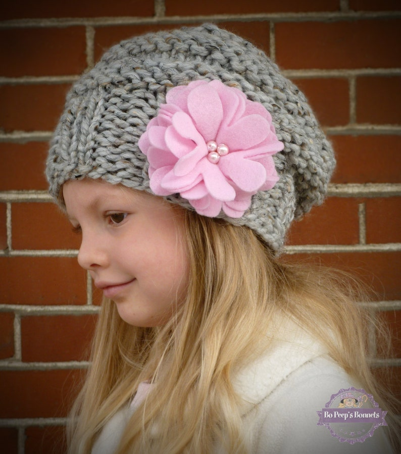 e2825f697f1 Slouchy Toddler Hat MANY COLORS with pink felt flowers and