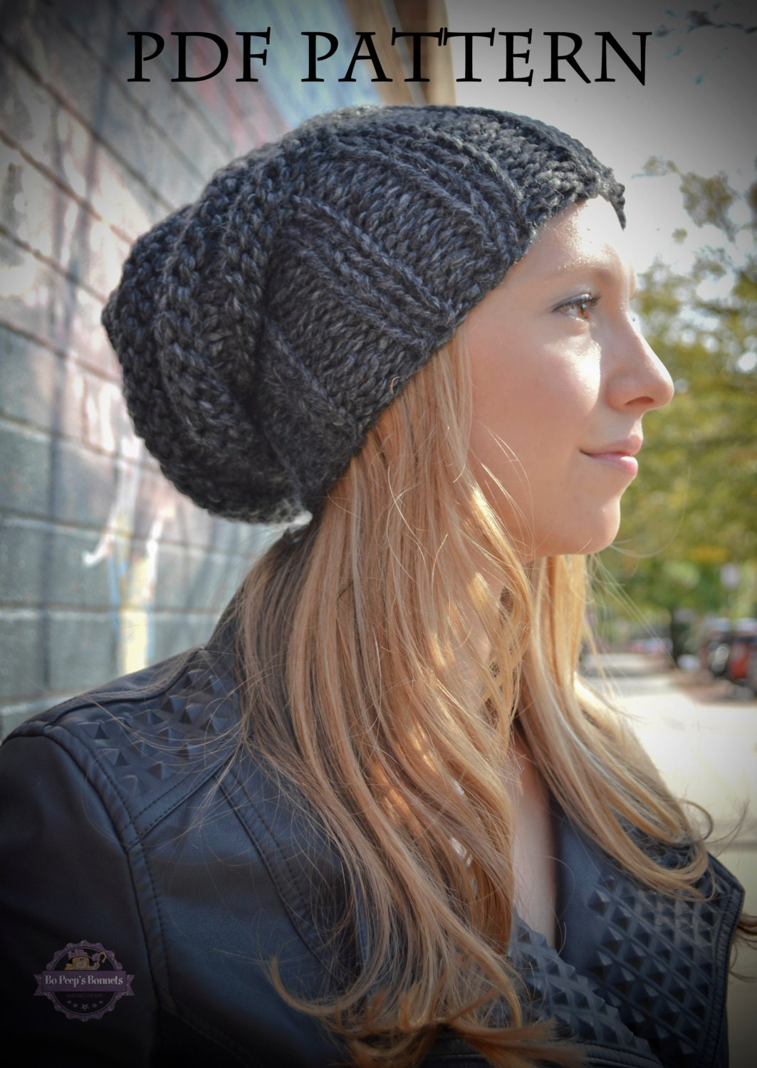 Knitting PATTERN Women's Slouchy Hipster Beanie Knit Hat ...