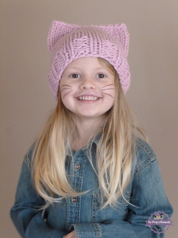 21640ad15b5 Hand Knit Kids Cat Ears Hat Kids Cat Beanie Girls Cat Beanie